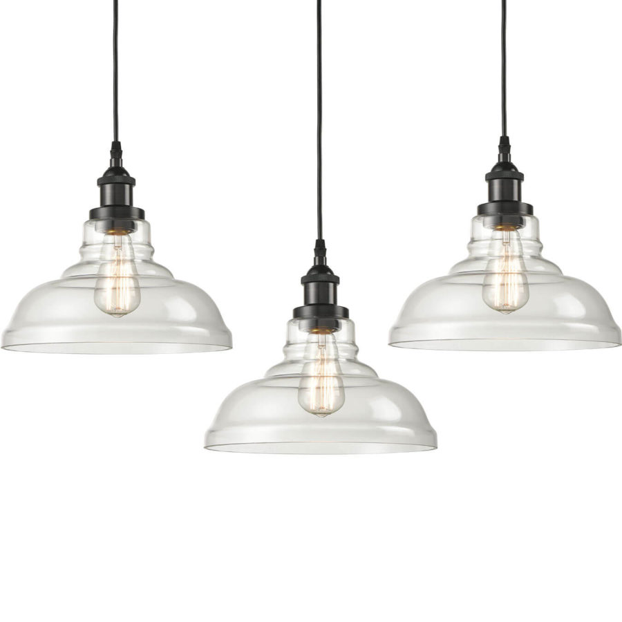 Industrial 3 Pack Glass Pendant Lights Handcrafted Rubbed Bronze