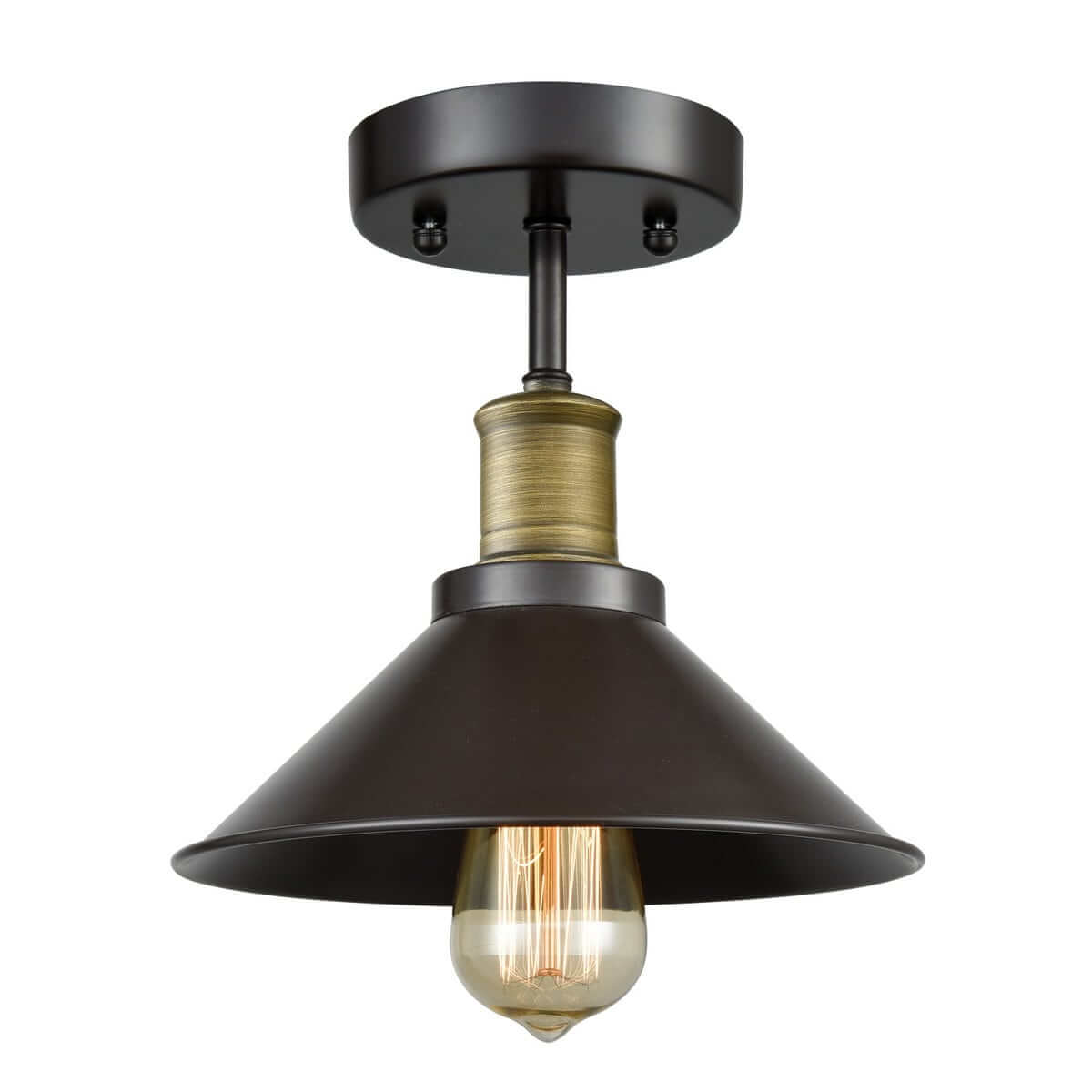 Industrial Mini Bronze Ceiling Light 1 Light Cone Shade Fixture