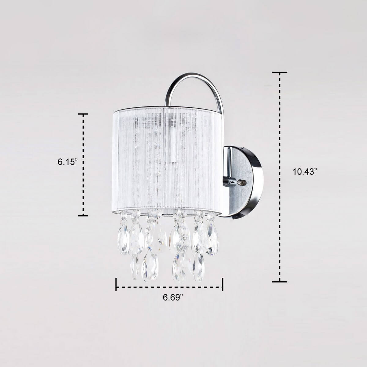 Modern Crystal Wall Sconce Silver String Shade Fixture