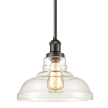Stem Hung Bronze Industrial Pendant Light Fixtures with Clear Glass Shade