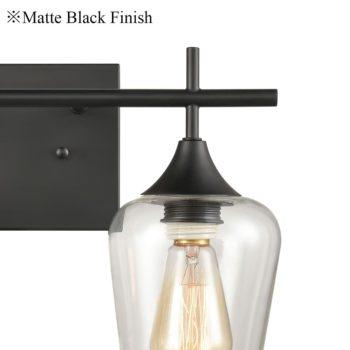 2-Light Bathroom Vanity Lighting Clear Glass Wall Sconces Matte Black