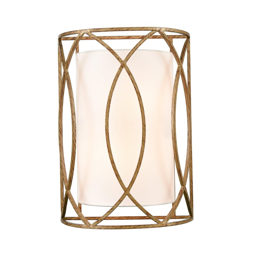 2-Light Vanity Light Mid-Century Brass with Rustic Metal Wall Sconce Lamp