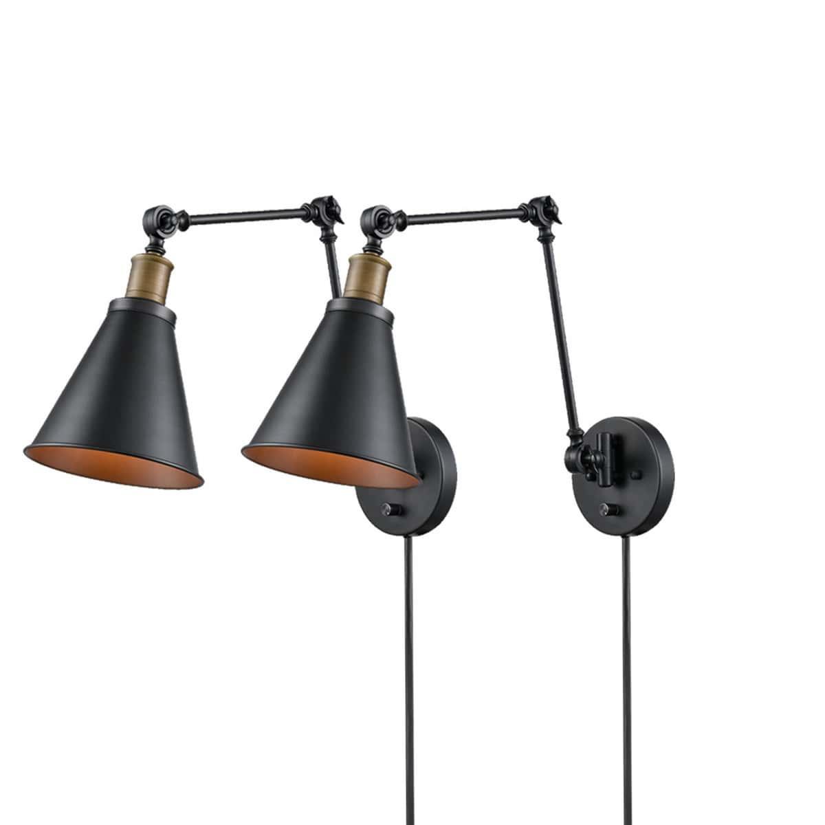 Industrial Swing Arm Plug-in Wall Light Black 2 Pack Fixture