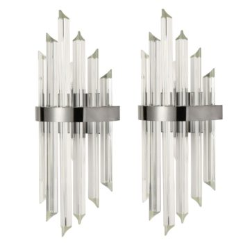 Modern Glass Rod Wall Sconces Titanium Black Finish Set of 2