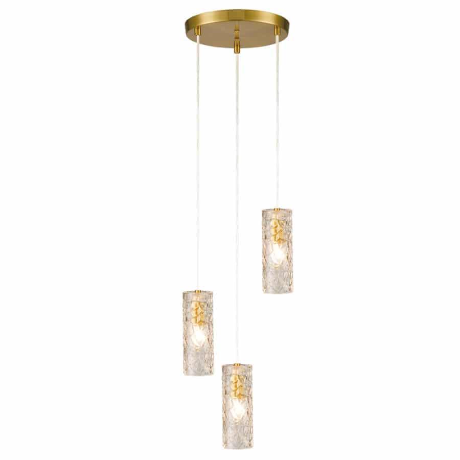 3 Light Brass Glass Pendant Light Modern Cluster Chandelier