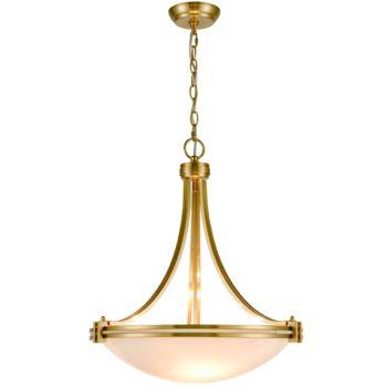 3-Light Brass Pendant Light Elegant White Shade Glass