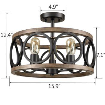 3-Light Ceiling Light Drum Shade Ceiling Light Fixtures Rustic Chandelier