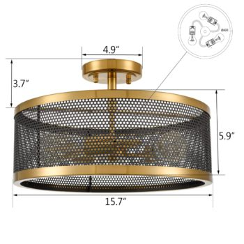 3-Light Ceiling Light Industrial Metal Drum Mesh Semi Flush Mount