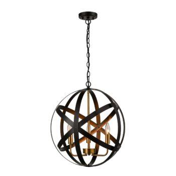 Black Metal Orb Chandelier 3-Light Sphere Pendant Lighting