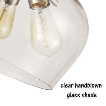 3-Light Glass Ceiling Lights Semi Flush Mount Brushed Nickel Finish