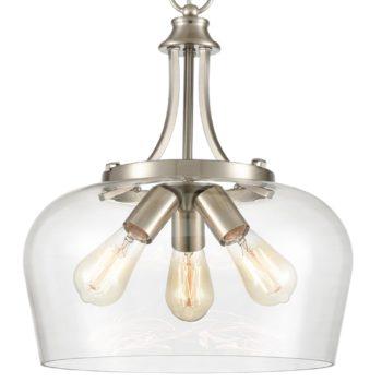 3-Light Modern Pendant Light Industrial Clear Glass Pendant Lighting