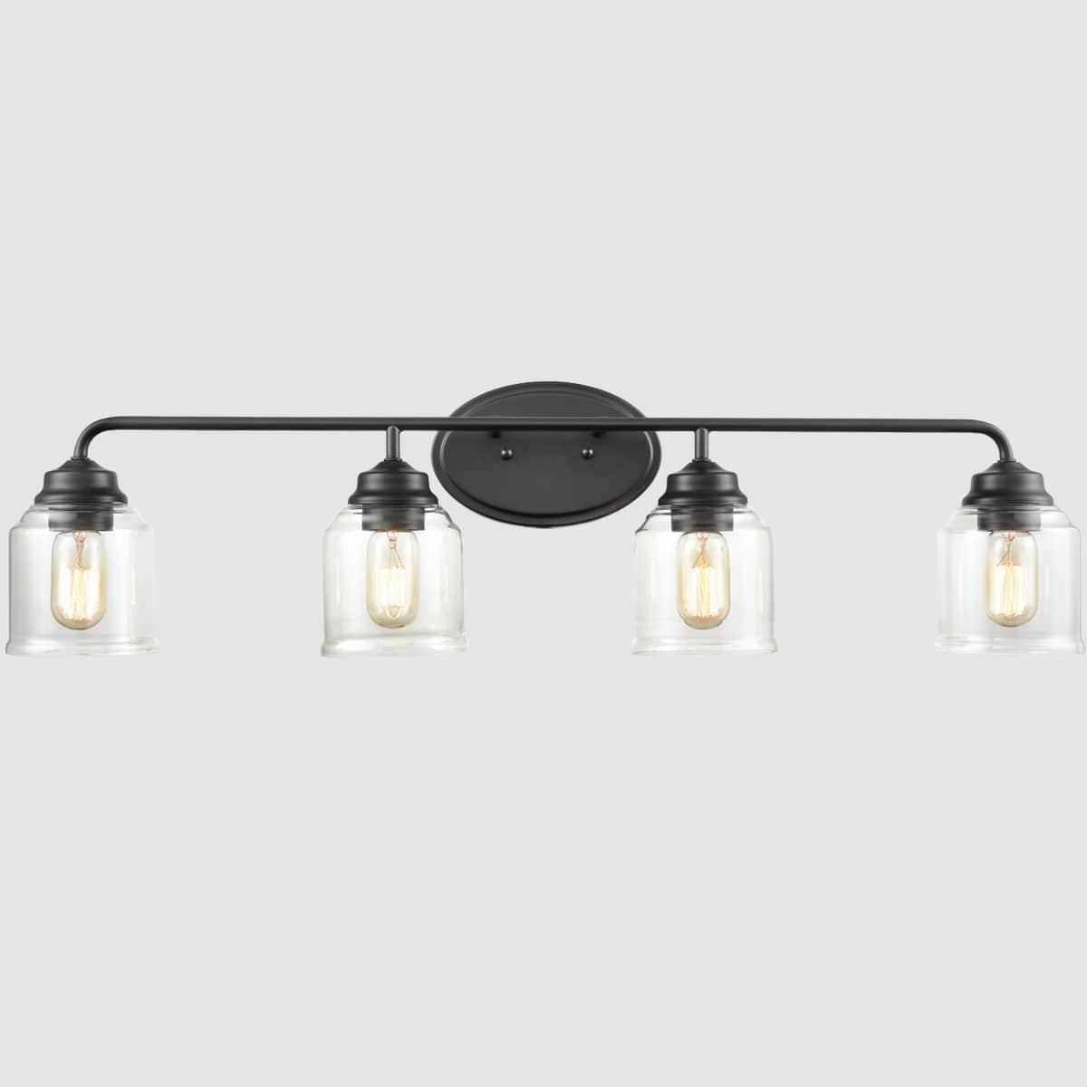 Black Bathroom Wall Sconce 4 Lights, Modern Bathroom Light Fixtures Black