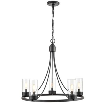 5-Light Industrial Chandelier Vintage Black Pendant Light