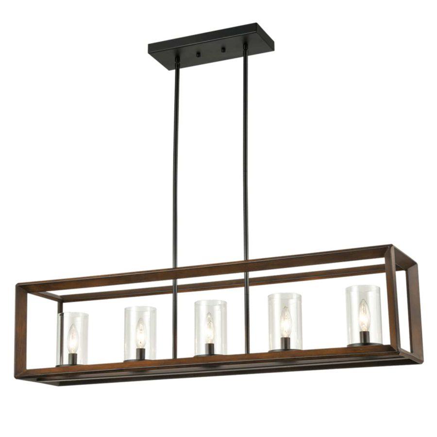 Five-Light Kitchen Island Pendant Lighting in Wood Finish