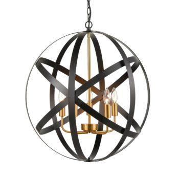 Black Metal Sphere/Orb Chandelier Globe Foyer Pendant -5 Light