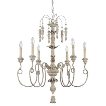 French Country Chandelier 6 Light Weathered Living Room Fixture