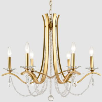 6-Light K5 Crystal Chandelier Lighting Raindrop Brass Pendant Light