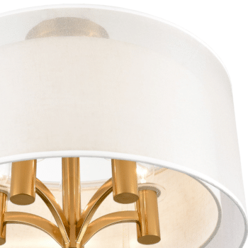 Modern Fabric Drum Flush Mount Ceiling Light Gold Finish