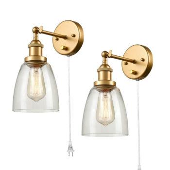 Modern Brass Plug in Wall Lights Glass Bell 2 Set Fixture