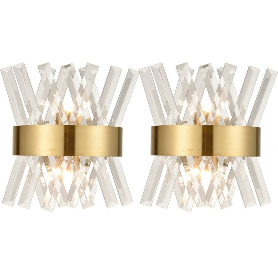 Modern Brass Crystal Wall Sconce Lighting Fixture 2 Pack