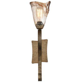 Art Deco Amber Glass Bronze Wall Sconce Lighting, 1-Light