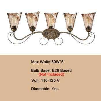 Art Deco Bathroom Vanity Lighting Amber Glass Shade - 5 Light