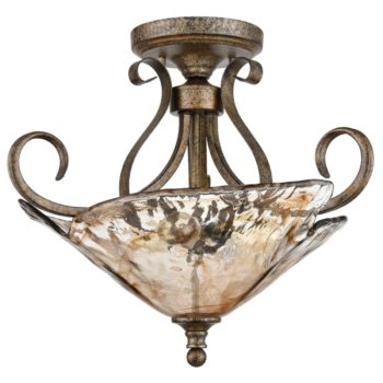 Art Deco Semi Flush Ceiling Lights, Inverted Amber Glass