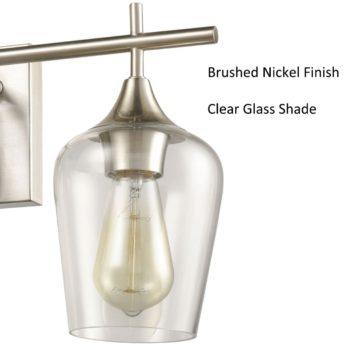 Vintage Bath Vanity Wall Light Over Mirror 3-Light Sconces Brushed Nickel