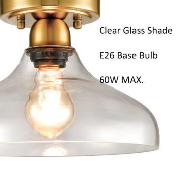 Contemporary Metal Glass Ceiling Light Brass 1-Light Pendant Light