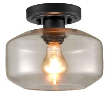 Industrial Semi Flush Ceiling Light Clear Glass Drum Shade,Black