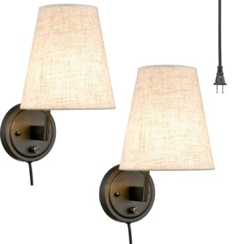 Bedroom Swing Arm Wall Lamp Plug-in Wall Light Fabric Shade 2-Pack