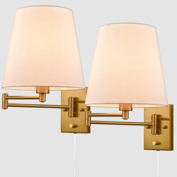 Beige Wall Sconces Set of Two Plug-in Wall Lamp Swing Arm Wall Lights