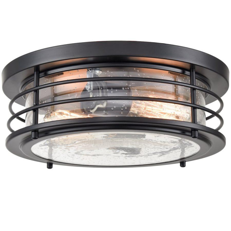 Black Flush Mount Ceiling Light 2-Light Seeded Glass Shade