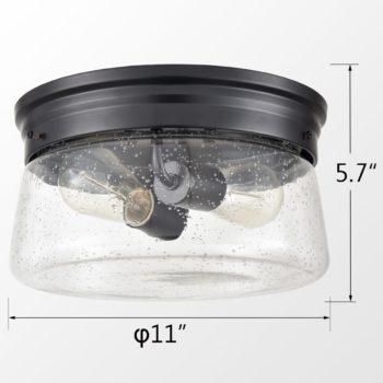 Black Flush Mount Ceiling Light Seeded Glass Shade Bedroom Ceiling