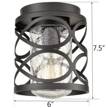 Black Flush Mount Ceiling Light Seeded Glass Shade Modern Light