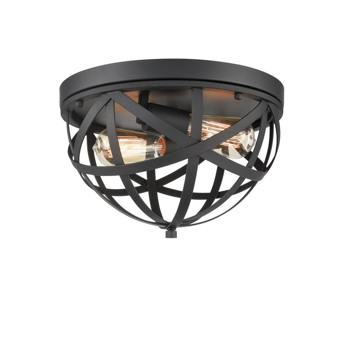 Industrial Black Dome Cage Ceiling Light-2 Light Fixture