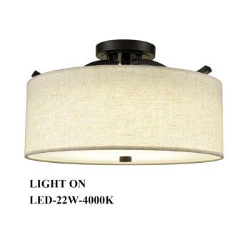 Black Semi Flush Mount Ceiling Light with Fabric Drum Shade