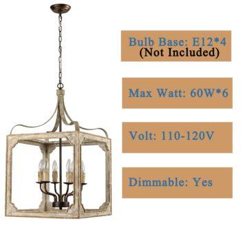 Boho Distressing Wooden Lantern Cage Candle Chandelier 6 Lights