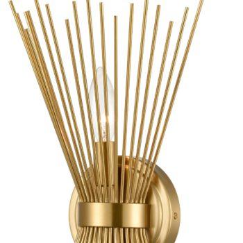 Brass 2-Light Vanity Light Mid-Century Starburst Wall Sconce Lamp