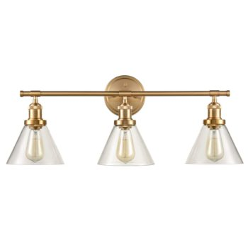 Modern Brass 3-Light Vanity Lights with Cone Glass