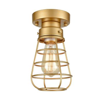 Modern Brass Mini Cage Ceiling Lights Flush Mount with Solid Metal
