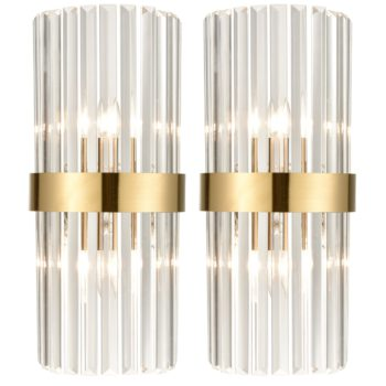 Brass Glass Wall Sconces Titanium Gloden Wall Mount Lamp