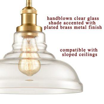 Brass Industrial Glass Pendant Lights Barn Shape 3 Pack