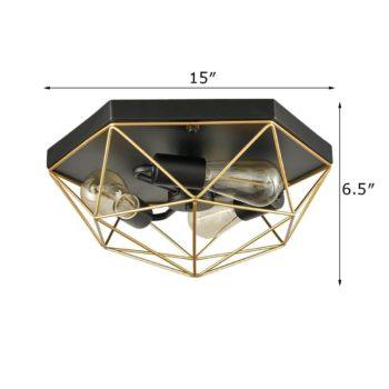 Modern Brass Metal Frame Caged Flush Mount Ceiling Lights