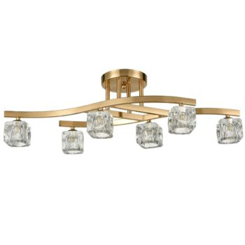Brass Modern Ceiling Lights with Cube Crystal Glass Shades