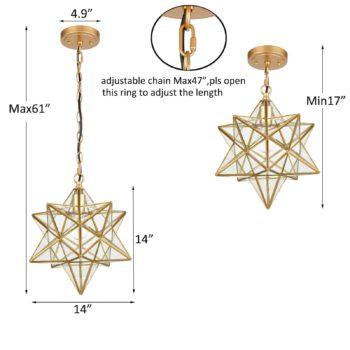 Brass Moravian Star Pendant Light 14-inch Clear Glass Shade