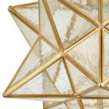 Brass Moravian Star Pendant Light 14-inch Seeded Glass Shade