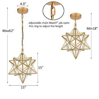 Brass Moravian Star Pendant Lights Clear Glass Shade, 15-Inch