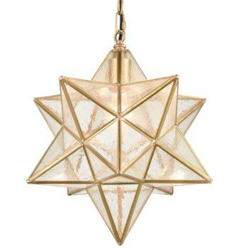 Brass Moravian Star Pendant Lights Seeded Glass Shade, 15-Inch