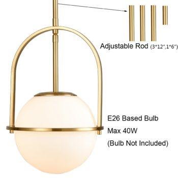 Brass Pendant Light Modern Glass Globe Pendant Light Height Adjustable